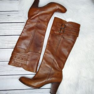 FRYE BROWN LEATHER HEELED TALL PULL ON BOOTS  8.5